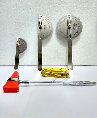 Goniometer Set Of 3 Pc Made Stainless Steel With Hammer and Measuring Tape