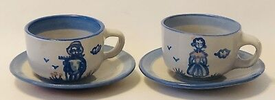 M.A. Hadley Farmer & Wife Cups & Saucers -2 Sets