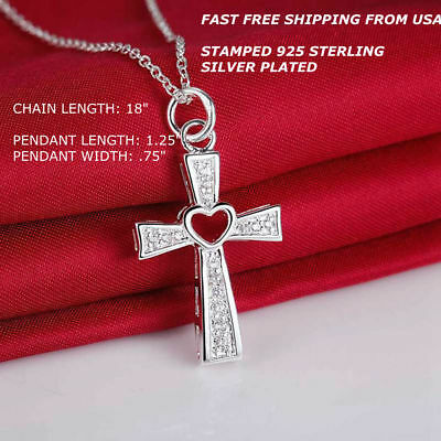 New Women Fashion Jewelry 925 Sterling Silver Plated Chain Cross Heart Necklace