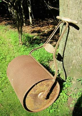 Antique Lawn Art-Dunham Water Weight Steel Lawn Roller With The Original Handle