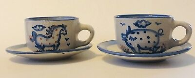 M.A. Hadley Farm Animals (Horse & Pig) Cups & Saucers  - Set Of 2