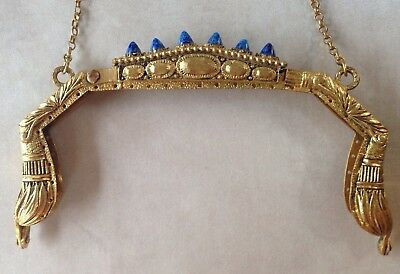 Rare Egyptian Antique Vintage Brass Jeweled Beaded Purse Frame with Lapis Stones