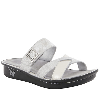 b12ee093b4e8 Alegria Leather Sandals Victoriah Ivory Sheen (silver) EU 39 US 9-9.5 NEW