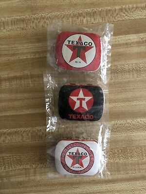 3 Texaco Gas Oil Company Pill, Mint Box Empty Tins  Old Vintage Stock