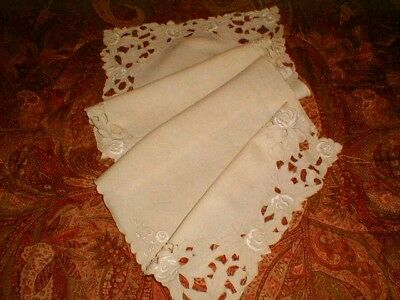 """Vtg Ivory MADERIA FLORAL RUNNER 14.5x40"""" OPENWORK Embroidery Scalloped Edge LACE"""