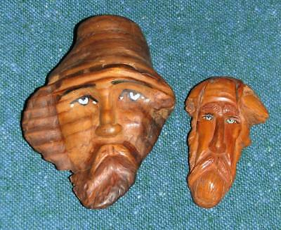 OLD Unique Hand Carved Burl Wood Faces American Folk Art FREE SHIP!