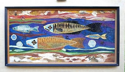 Listed Artist Juan Pablos Dated Oil Painting Mid Century Moderm Eames Art Fishes