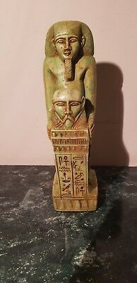 Rare Antique Ancient Egyptian Statue Pharaoh Horemheb Hold God Bes1319- 1292BC