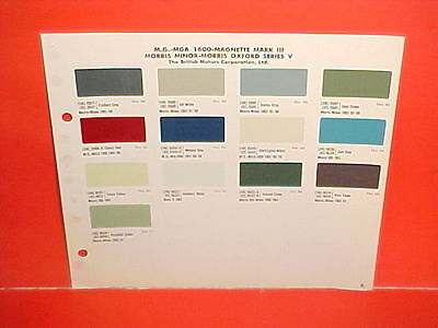 1959 1960 1961 1962 Mg Midget Mga 1600 Convertible Magnette Morris Paint Chips