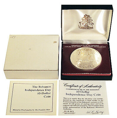 1973 Bahamas 10 Dollars Silver PROOF Coin Independence Day in Original Box & COA