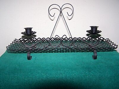 Vtg Retro Gothic Black Wrought Iron Mesh Metal Table Taper Candle Holder Decor