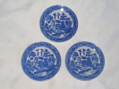 Set Of 3 Antiques Occupied Japan Blue Willow Porcelain Butter Pats