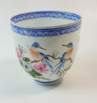 Vintage antique Eggshell porcelain tea cup Chinese Japanese birds flowers blue