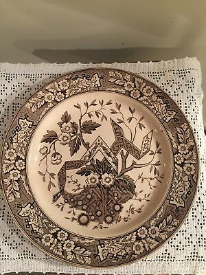 Wedgwood Beatrice Plate  Brown And White transferware  9 1/2""