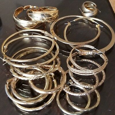 Lot of Mixed Vintage Gold Tone Metal Hoop Earrings Big & Small All under 2""
