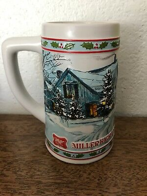 """Vintage 1984 Miller High Life Limited Edition Holiday Beer Stein (6"""" Tall)"""