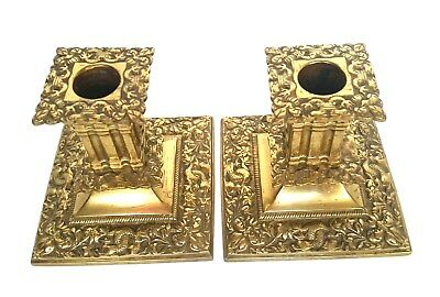 Vtg PAIR ORNATE Oriental BRASS CANDLE STICKS Dolphins DRAGONS~SQUARE BASE~4""