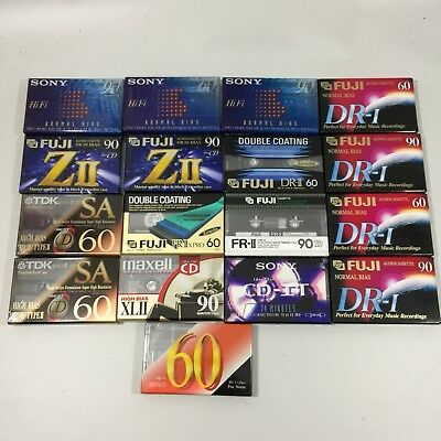 Lot Of 17 Sealed Brand New Audio Cassette Tapes TDK/FUJI/MAXELL/SONY NEW