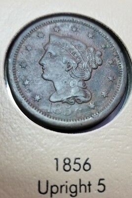 1856 Large Cent Coin ~ UPRIGHT 5 ~