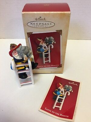 "Hallmark Keepsake Ornament ""Santa To The Rescue"" 2004 Fireman Santa/Kitty"
