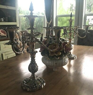 A Pair Of Silverplate 5 Light Candelabras,Vintage Sheffield Candle Holders