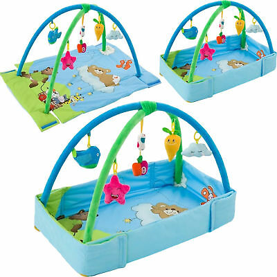 Blue Large 4 in 1 Fold-able Baby Play mats Lay Fitness Gym play Mat Musical Fun