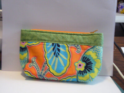 Orange Green Turquoise Paisley Clutch Purse Make up bag Pouch Handmade