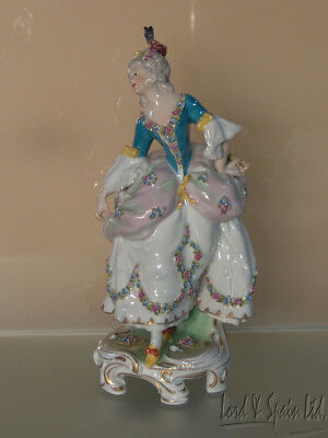 Antique French Lady Figurine With Fan & Feathered Hat & Applied Flowers