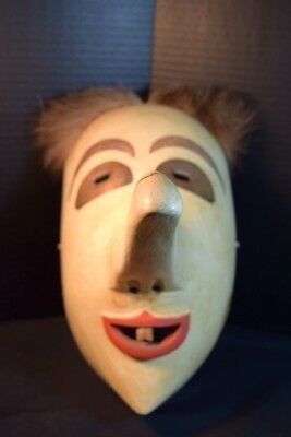 """False Face Society"" Iroquois Wood Mask With Long Nose"