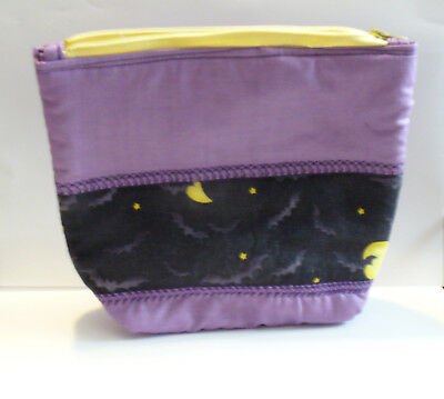 Halloween Bats Black Purple Yellow Clutch Purse Make up bag Pouch Handmade