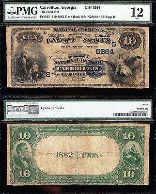"*VERY RARE* 1882 $10 CARROLLTON, GA ""SECOND CHARTER"" National Banknote! PMG 12!"