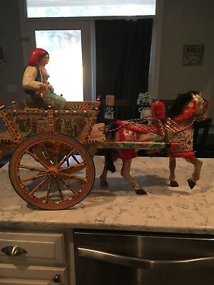 Folk Art Italy Sicilian Carreyto Horse And Cart Display
