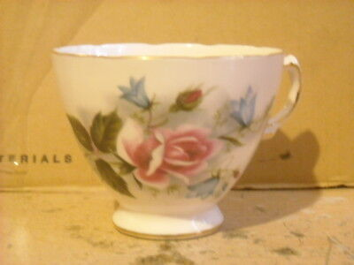 Royal Vale English Bone china Tea Cup and saucer pink roses w/ bluebells NICE!