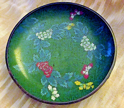 """Antique 6"""" FLORAL CHINESE  CLOISONNE HAND PAINTED  DISH/ PLATE-Exc Cond"""