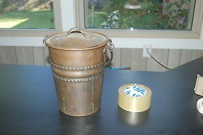 Antique Copper Pail with lid Vintage Bucket solid copper