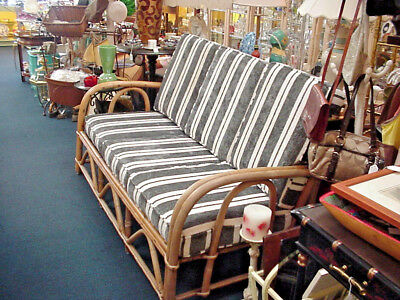 Vintage Rattan Sofa Couch Retro Mid Century Updated Cushions Patio Porch Lanai