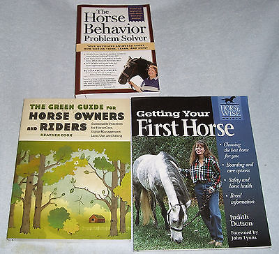 Lot of 3 Horse Books~Horse Behavior Proble Solver~Green Guide~Getting Your First