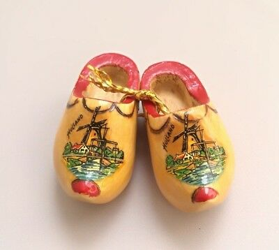 Miniature Souvenir Wooden Shoes Holland Dutch Clogs Vintage Brown Hand Carved