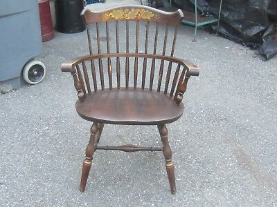 Hitchcock Solid Cherry Bow-Back Windsor Arm Chair