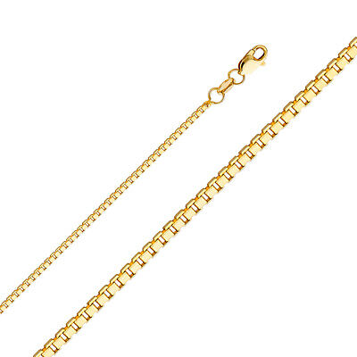 "Real Solid 14k Yellow Gold Necklace Box Chain 0.5 - 1.2 mm 16"" 18 20 22 24"" Inch"