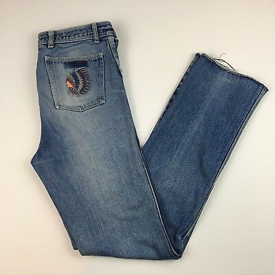 1970's Western Embroidered Denim High Waisted Distressed Jeans Boho Hippy 32X34