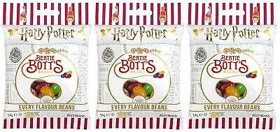 3x Jelly Belly Harry Potter Bertie Botts Flavour Beans 54g American Sweets