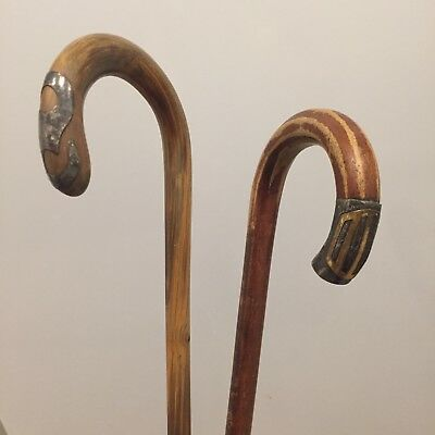 Antique Victorian Early 1900s Sterling Silver Tipped Wood Walking Canes
