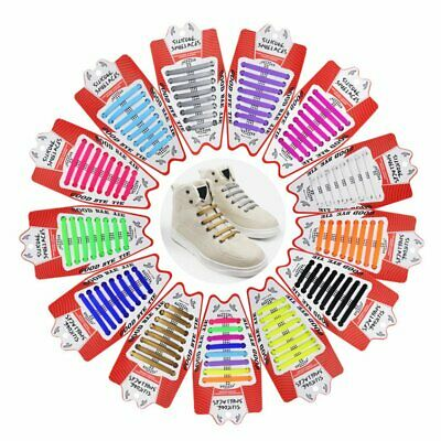 16PCS Easy No Tie Shoelaces Elastic Flat Shoe Lace Trainers Lazy Silicone Laces