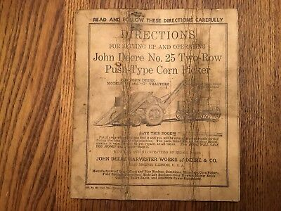 Vintage 1938 John Deere No. 25 Two-Row Push Type Corn Picker Manual