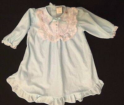 Vintage IC Nightgown Light Blue Size M 2T-3T Lace Made In USA Ruffles Bow
