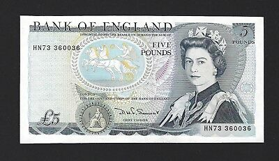 1987-88 Great Britain Bank of England 5 Pounds, Sign: Somerset, P-378e, aUNC QE2