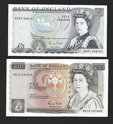 1988 - 91 Great Britain Bank of England 5 & 10 Pounds, Ch UNC P-378f / 379e Gill