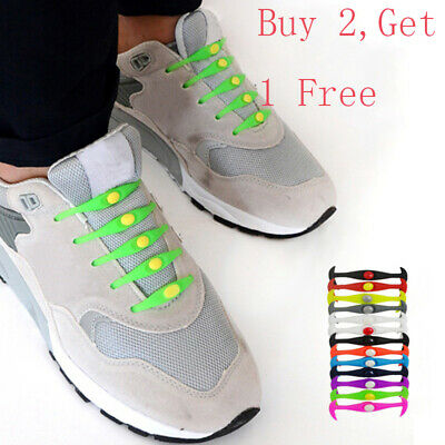 12PCS Silicone Shoelaces Elastic Flat Shoe Lace Easy No Tie Laces Lazy Strings