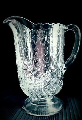 Antique 1900 EAPG~Crystal PANELED PRIMULA Large WATER PITCHER~PANELLED DAISY~EX